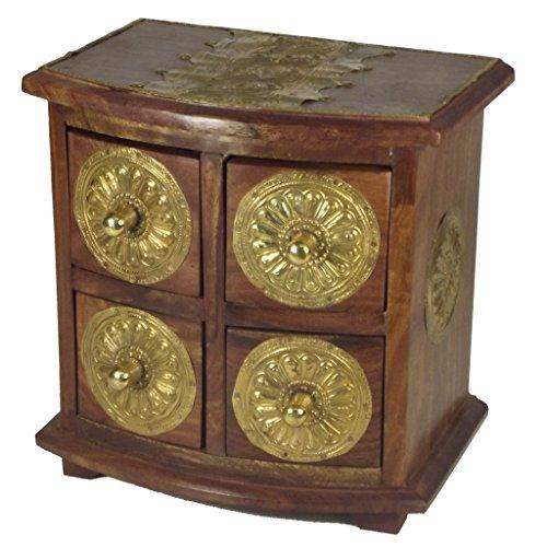 Galleria fotografica Portagioie Cassettiera 4cassetti–Realizzato a mano sesamo legno ottone–Commercio Equo E Solidale