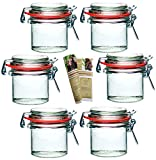 gouveo 6er Set Bügelgläser 125 ml incl. 28-seitige Flaschendiscount-Rezeptbroschüre Marmeladengläser mit Bügelverschluss