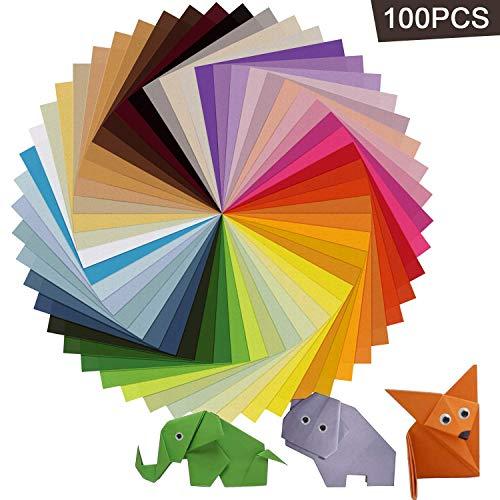 Origami Papier, AIEX 100 Blatt 15x15 cm in 50 sortierten Farben Doppelseitiges quadratisches Origami Papier mit 100 Blatt 8mm Wiggle Googly Augen für DIY Handwerks und Kunstprojekte -