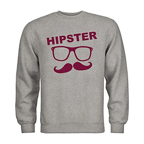 dress-puntos Sweatshirt Hipster Brille Bart 20drpt15-s01037-267 Textil heathergrey / Motiv bordeaux M (267 Brille)