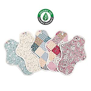 Reusable Cotton Sanitary Pads Sanitary Napkins 100% Organic Waterproof Coating Menstrual Pads Hygienic Band Random 5 Pcs Set