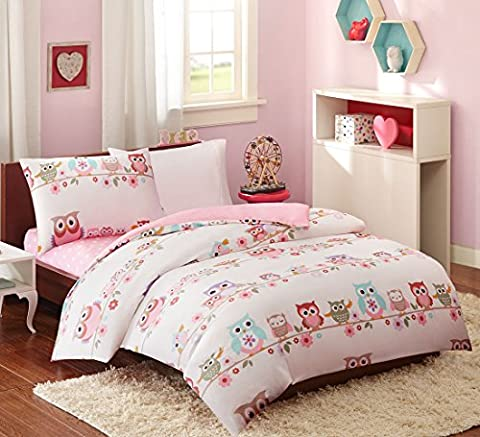 MIZONE KIDS Owl Single Duvet Cover and Pillowcase Set, A Fun Owl and Flower Print, 100% Cotton Luxury 210 Thread Count, 3 Sets: Duvet Cover + Pillowcase + Flat Sheets, Childrens Girls Quilt Bedding Set (135 x 200cm, Pink )