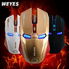 WEYES Armor Iron Man 2.4Ghz Wireless Gaming Mouse Silent Click 3 Adjustable DPI 800/1200/1600 [Programmable] for PC (Gold)