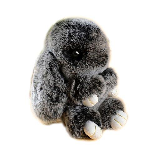 URSFUR Dolce pelliccia di coniglio in borsa ciondolo peluche borsa pelliccia di coniglio fibbia portachiavi (gelo nero)