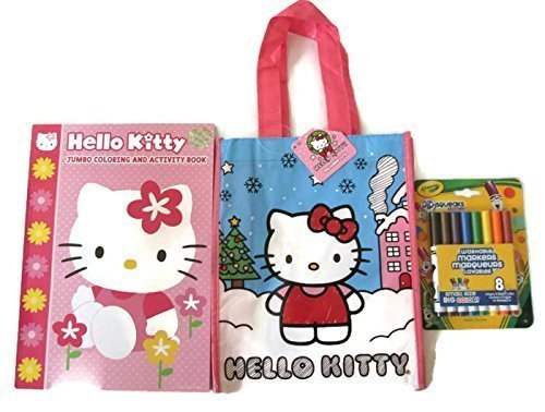 Hello Kitty Activity Pack Bundle Three Items 1 48 Page Fun Activity Coloring  Book 1 8 Pack Pip Squeaks Washable Markers 1 Christmas Themed Tote Bag  4674500 ab82415247cc8