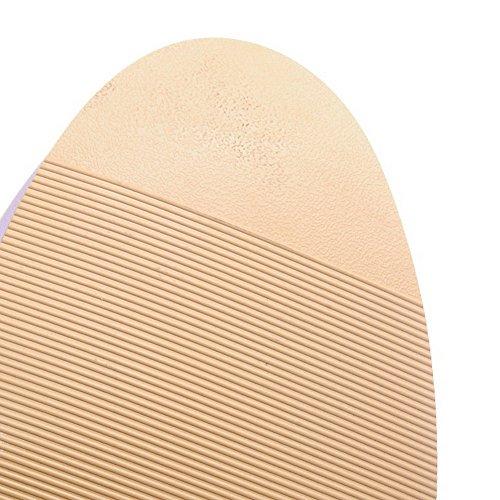 VogueZone009 Damen Hoch-Spitze Rein Reißverschluss Rund Zehe Hoher Absatz Stiefel mit Schleife Lila