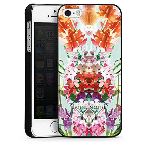 Apple iPhone 4 Housse Étui Silicone Coque Protection Fleurs Fleurs Motif CasDur noir