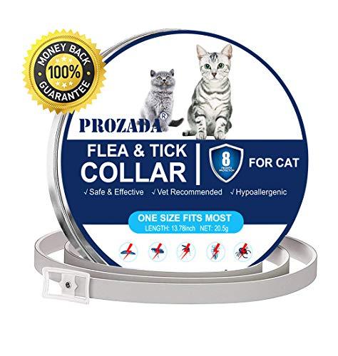 PROZADA Collare Antipulci per Gatti Impermeabile, Collare Antipulci Pulci e Zecche Collare 8 Mesi di Efficacia Protezione Pettorale in Gomma Repellente