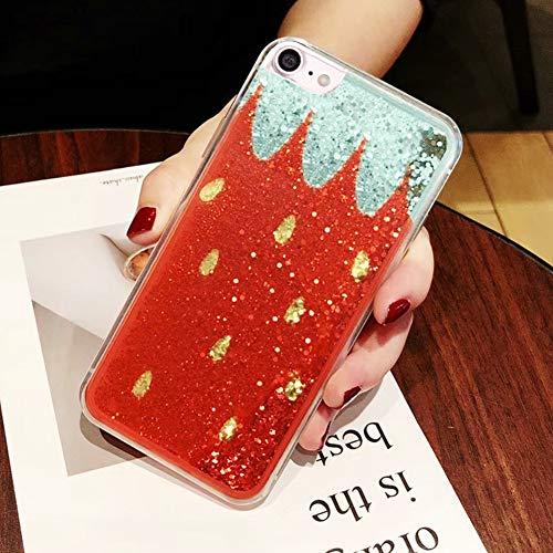 EINFFHO iPhone 8 Hülle, Luxus Glänzend Glitzer Flüssigkeit Fließen Treibsand Durchsichtige Handyhülle Klarer Kristall Weich Silikon Schutzhülle Etui für iPhone 7/iPhone 8, Erdbeere