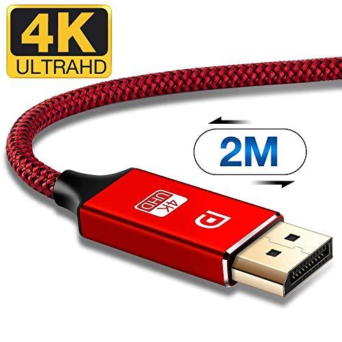 ALCLAP Cable DisplayPort 2m, Cable DP a DP 4K Nylon Trenzado [4K @ 60Hz,  1440p @ 144Hz], Cable DisplayPort a DisplayPort para Laptop, TV, TV, PC