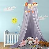 Betthimmel Baldachin aus Baumwolle Leinwand Deko Baldachin für Kinderzimmer Babybetthimmel auch als Mückenschutz Gute Luftzirkulation, mit Installation Tools, Höhe 235cm (Grau)