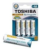 TOSHIBA AA Akku Batterien min.1950 mAh, Ready-to-Use Ni-MH, 1.2V 4er Pack, für telefon, 1500 Ladezyklen, geringe Selbstentladung, sofort einsatzbereit