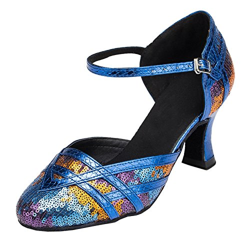Damen Pailletten Minitoo Party Dance Schuhe Mary Jane Pumps Blau
