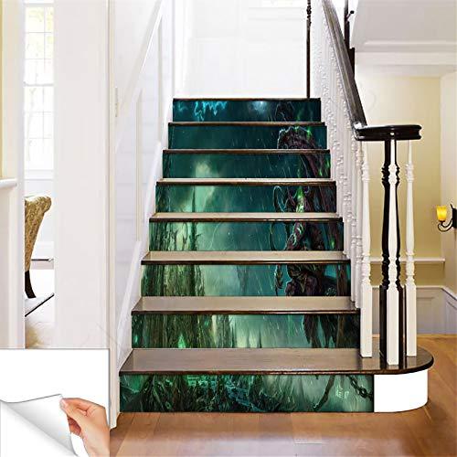GADGETS WRAP Printed Castle Dark Fantasy s Steps Sticker Removable Stair Sticker Floor Wall Decor Decals Sticker