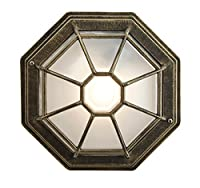 Traditional Hexagonal Black/Silver Flush Ceiling Porch Light by Happy Homewares by Happy Homewares