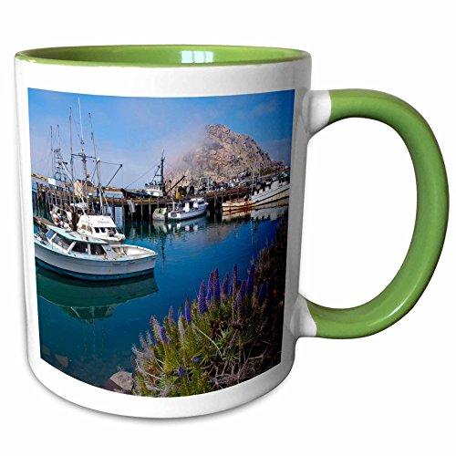 3dRose mug_189384_7 USA, California. Docked boats at Morro Bay with Mo Keramiktasse keramik grün/weiß Mo Bay