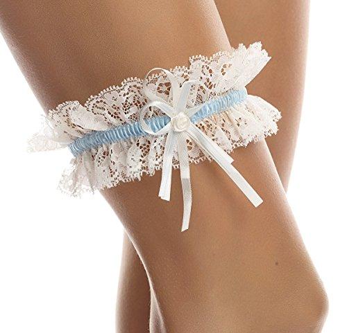BrautChic – Strumpfband zur Hochzeit – Brautstrumpfband CLASSIC – Elastische Weiche Spitze, Ivory/Blau, Einheitsgröße