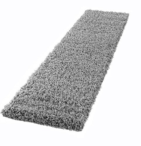 Lord of Rugs Lang Modern Traditionelle Gestreift Shaggy Flur Läufer Teppich in Multi Farben, Shaggy Silver, 60 x 230 cm (2' x 7'7'') -