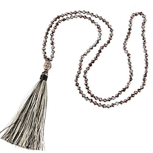 tall Bead Schnur Kette Lange Damen-Halskette Mit Silber Buddha Kopf & Quaste Anhänger - Farbe Leinen B ()