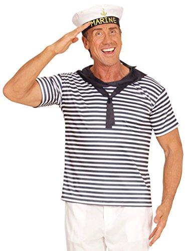 Karneval-Klamotten Matrose Matrosen Kostüm Set Herren blau-weiß gestreiftes T-Shirt inkl. Marine Matrosen-Mütze, Einheitsgröße
