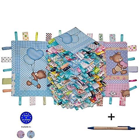 Dazoriginal Bär Schmusetuch Baby Kuscheltuch Schnuffeltücher Trösterchen Ultraweich Comfort Blanket Sicherheit Blanket Blau Taglet 2 Stück