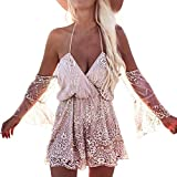 Minetom shirts blusen damen , Summer Off Shoulder Sequin glitzer Bling Diamond Bodysuit Summer Beach Club Elegant Jumpsuit Rose Gold DE 40