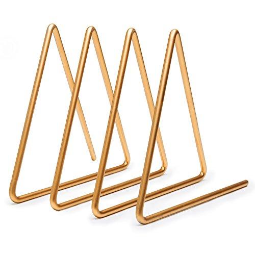 MyGift Desktop Dreieckig Goldfarbene Draht Metall Magazin, Buch und Datei Sortiermaschine mit 3-Slots
