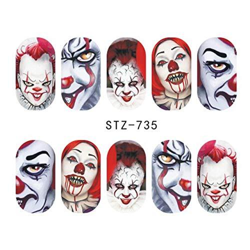 r Abziehbilder Halloween Design Clown Ghost Slider Wassertransfer Aufkleber Wasserzeichen Maniküre Nail Art Dekoration 6,4X5,3Cm 6St ()