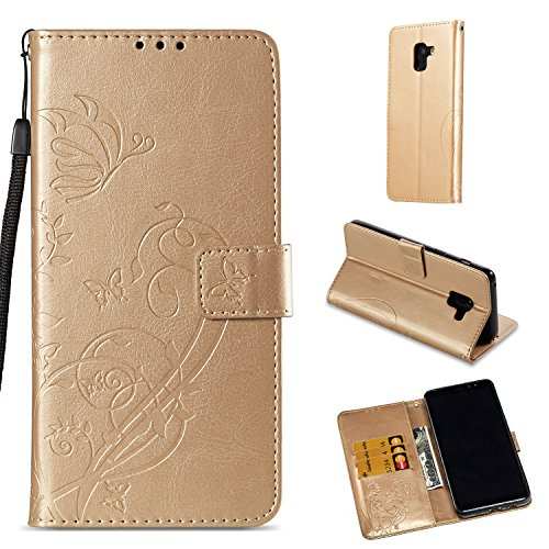 Nnopbeclik Samsung Galaxy A8 Plus Hülle, Terrapin Leder Tasche Case Hülle im Bookstyle mit Standfunktion Kartenfächer und Bargeld für Samsung Galaxy A8 Plus Tasche 6.0 Zoll