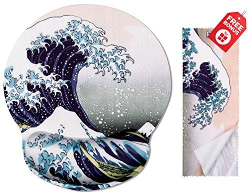 Katsushika Hokusai Die große Welle vor Kanagawa Ergonomische Design Mauspad mit Handballenauflage Hand Support. Runder großer Mausbereich. Passendes Mikrofaser-Reinigungstuch.