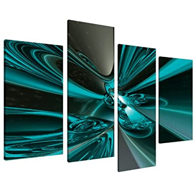 Large Teal Abstract Canvas Wall Art Pictures 130cm Wide Prints XL 4017 - inexpensive UK canvas shop.