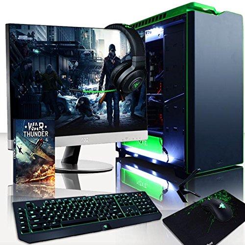 VIBOX Viper Pack 50 PC Gamer - 4,5GHz Intel i7 Quad Core CPU, GTX 1060, VR prêt, Ordinateur PC de Bureau Gaming avec Watercooling paquet de jeux, avec Écran, Windows 10, Éclairage Interne Blanc (4,2GHz (4,5GHz Turbo) Processeur CPU Quad 4-Core Intel i7 7700K Kabylake Ultra Rapide, Carte Graphique Nvidia GeForce GTX 1060 3 Go, 16 Go Mémoire RAM 3000MHz DDR4, SSD 240 Go, Disque Dur 2 To, Ventilateur de processeur PC Liquide Corsair H100i GTX, PSU Corsair RM750, Boîtier NZXT H440)