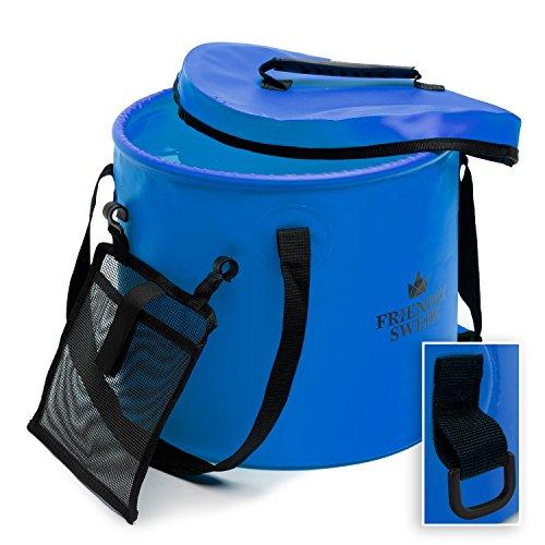 Zusammenklappbarer Falteimer Faltschüssel, Eimer für Camping, Reisen, Gartenarbeit, unterwegs - Falteimer Waschbecken Wasser Container Eimer, mit Deckel und Werkzeug Mesh Tasche - von The Friendly Swede (Blau 10 Liter)