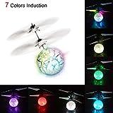 Huihong Mini Flugzeug-Hubschruber RC fliegender Ball mit 7 LED Leuchtung Kinder Fliegen RC Kugel-LED-Blitzen-Licht Flugzeug-Hubchrauber-Infrarot-Induktions-RC Spielzeug--Flugzeit: ca. 10 Minuten (7 Farben ändern sich)