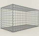 GABIONA Steinkorb-Gabione eckig, Maschenweite 5 x 5 cm, Tiefe 50 cm, Spiralverschluss, galvanisch verzinkt (100 x 50 x 50 cm)
