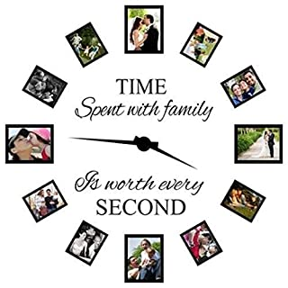 Zooarts Family Wall Decals~Time Spent with Family Is Worth Every Second Wall Decal Quote Home Decor Art Quote Decals Wall Art Stickers Decal Home Decor