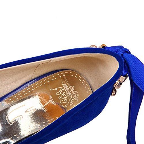 VogueZone009 Femme Dépolissement Couleur Unie Tire Rond Fermeture D'Orteil à Talon Haut Chaussures Légeres Bleu