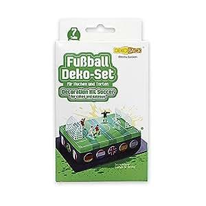 Dekoback Tortendeko DECOCINO HOCHWERTIG   7-teiliges Fußball Deko-Set 5 Figuren und 2 Toren   für Fußballkuchen und Fußballtorten   wiederverwendbar   Fußballfeld Tortendeko bestellen