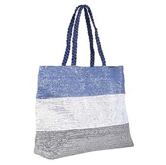 Ladies Beach Bag Sparkling Blue Silver Stripe Design