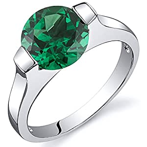 Revoni Bezel Set 1.75 carats Emerald Engagement Ring in Sterling Silver Rhodium Finish