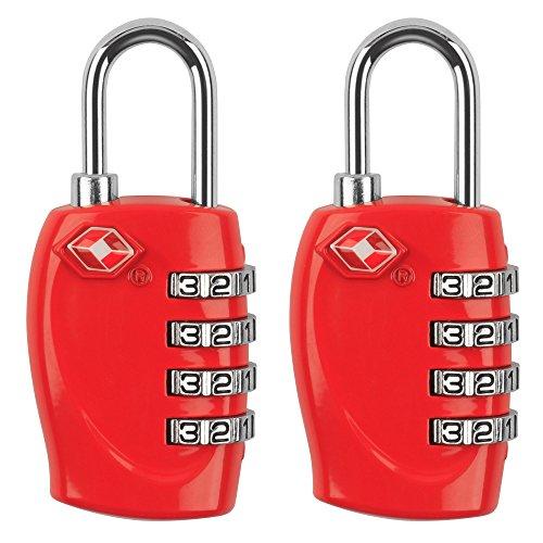 MIDWEC Nouvelle Version Lot de 2 Cadenas de Sécurité à Combinaison de 4 Chiffres Cadenas a Code pour Valise Bagages Approuvé par la TSA (Rouge)