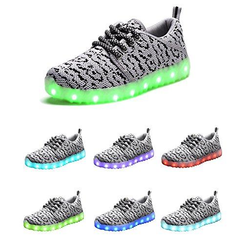Modelshow Jungen Mädchen USB-Aufladung 7 Farben LED Leuchtend Stricken Turnschuhe Mode Leichte Schuhe Grau
