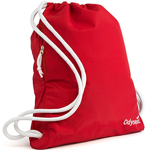 Odyseaco Deluxe Drawstring Gym Bag- Waterproof Swimming Rucksack With Large Zip Pocket Best For School, PE & Sports (Red)