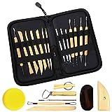 RAIN QUEEN 22 Stück Modellier-Werkzeug Keramik Werkzeug Tonwaren-Werkzeuge Sculpting Werkzeug schnitzen Werkzeug (Schwarz, 22 Stück)