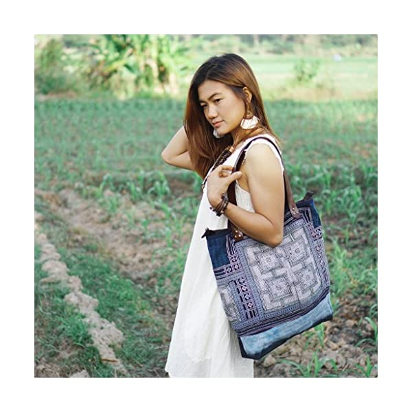 Changnoi One of a Kind Vintage Embroidered Tote Bag with Leather Strap from Thailand, Ethnic Tote for Women in Blue - handmade-bags