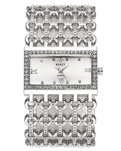 JSDDE Uhren,Mode Strass Armbanduhr Rechteck Damenuhr Metall-Band Armkette Armreif Uhr Analog Manschette Quarzuhr,Silber