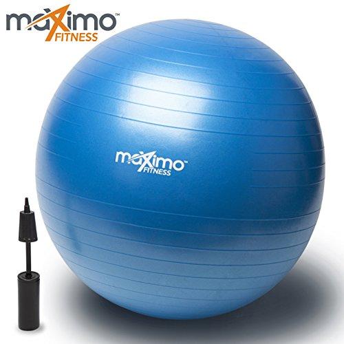 Ballon d'Exercice / Exercise Ball avec Pompe à Main par Maximo Fitness | Qualité Supérieure | Parfait pour l'Entrainement Visant la Stabilité, l'Entraînement de Noyau, l'Equilibre de Corps, le Pilates, CrossFit | Matériau PVC...