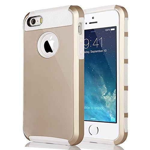Coque pour iPhone 5S/5,ULAK Housse de Protection Hybride Couche 2 Lourde en PC dur Coque pour Apple iPhone 5 5S avec un Protecteur d'écran(Blond/Blanc)
