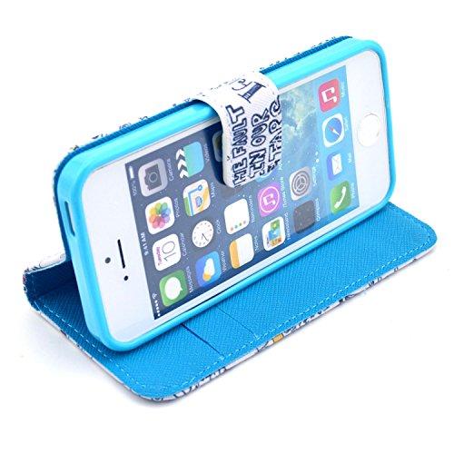 Voguecase® Schutzhülle Tasche Leder Brieftasche Hülle Case Cover für Apple iPhone 5 5S (OKAY) + Gratis Universal Eingabestift OKAY