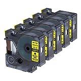 5er Schriftband Kompatibel für Dymo D1 45018 beschriftungsband Schwarz auf Gelb 12mm x 7m für DYMOLabelManager LM160 LM210D LM260P LM280 LM360D LM420P